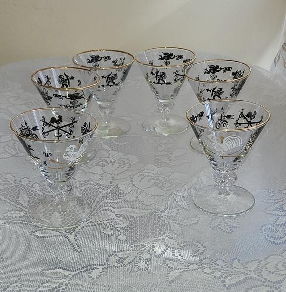 Mid Century Barware Cocktail Glass Stems Set ~ 6